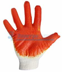 Перчатки ХБ с одинарным латексным покр., 5нитей, 36гр., 10 класс вязки, красного цвета
