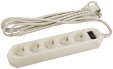 Сетевой фильтр USF-5es-3m-I  ЭРА Сет.фильтр базовая защита, с/з, с выкл, 5гн, 3м, ПВС,  10А, сл.кост