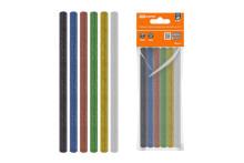 Клеевые стержни универсальные цветные с блестками, 7 мм x 100 мм, набор 6 шт,