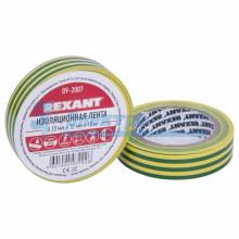 Изолента 15мм х 10м желто-зеленая  REXANT