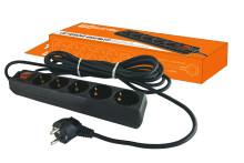 Сетевой фильтр СФ-05В выключатель, 5 гнезд, 3 метра, с заземлением, ПВС 3х1мм2 16А/250В TDM