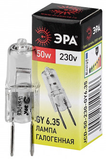 Лампа галогенная GY6.35-JCD-50W-230V  ЭРА (галоген, капсула, 50Вт, нейтр, GY6.35)