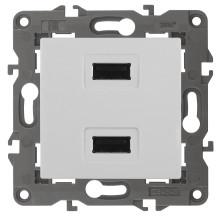 14-4110-01  ЭРА Устройство зарядное USB, 230В/5В-2100мА, IP20, Эра Elegance, белый
