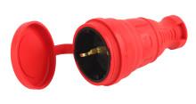 R8-RED-IP44 ЭРА Разъём каучуковый c/з  прямой 16A IP44 красный
