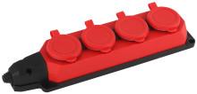 K-4e-RED-IP44  ЭРА Колодка каучуковая с/з 4гн 16A IP44 красная