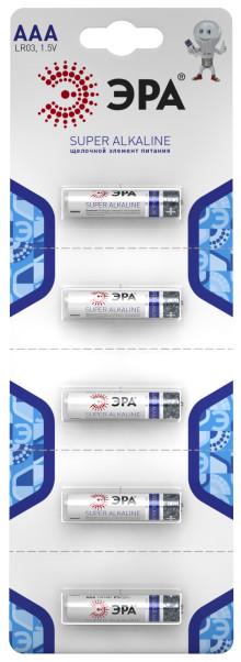 Элемент питания  ЭРА LR03-5BL Strip (5/60)
