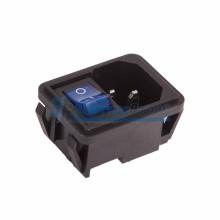 Выключатель клавишный 250V 10А (4с) ON-OFF синий с подсветкой и штекером C14 3PIN  REXANT