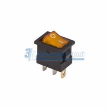 Выключатель клавишный 12V 15А (3с) ON-OFF желтый  с подсветкой  Mini  REXANT