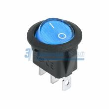 Выключатель клавишный круглый 12V 20А (3с) ON-OFF синий  с подсветкой  REXANT