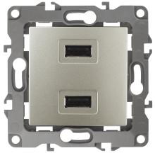 12-4110-04  ЭРА Устройство зарядное USB, 230В/5В-2100мА, IP20, Эра12, шампань