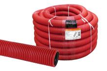Труба гофрированная двустенная ПНД d 90 с зондом (50 м/уп.) красная TDM