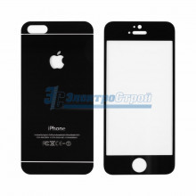 Защитное стекло двухстороннее для iPhone 5/5S/5C  черное