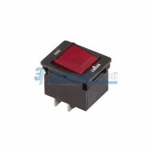 Выключатель - автомат клавишный 250V 10А (4с) RESET-OFF красный  с подсветкой  REXANT