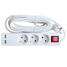 Удлинитель 3GSU-5-SMART 3-х местн c выкл 2-х USB 10А с з/к 5м 8535 IN HOME
