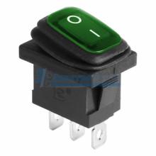 Выключатель клавишный 250V 6А (3с) ON-OFF зеленый  с подсветкой  Mini ВЛАГОЗАЩИТА REXANT