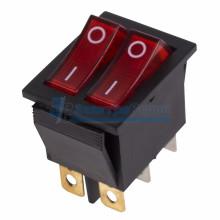 Выключатель клавишный 250V 15А (6с) ON-OFF красный  с подсветкой  ДВОЙНОЙ  REXANT