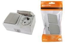 Блок комбинированный (горизонтальный) выключатель 2-кл. + розетка 2П+З с з/ш БКВР IP54
