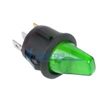 Выключатель клавишный круглый 12V 16А (3с) ON-OFF зеленый  с подсветкой  REXANT