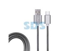USB кабель microUSB, шнур в металлической оплетке, черный