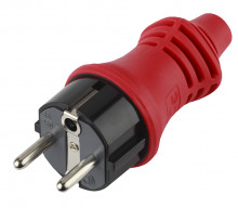 V6(R) ЭРА Вилка IP44 каучук c/з 16A красная (10/100/4200)