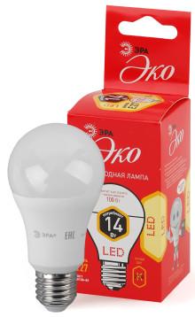 Лампы СВЕТОДИОДНЫЕ ЭКО ECO LED A60-14W-827-E27  ЭРА (диод, груша, 14Вт, тепл, E27)