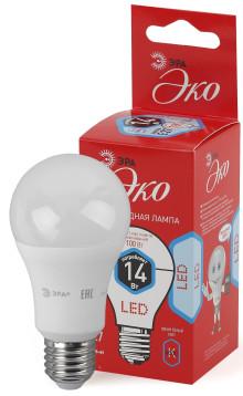Лампы СВЕТОДИОДНЫЕ ЭКО ECO LED A60-14W-840-E27  ЭРА (диод, груша, 14Вт, нейтр, E27)