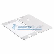 Защитное стекло двухстороннее для iPhone 5/5S/5C серебристое