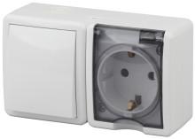 11-7401-01  ЭРА Блок розетка+выключатель IP54, 16A(10AX)-250В, ОУ, Эра Эксперт, белый