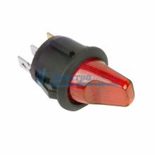Выключатель клавишный круглый 12V 16А (3с) ON-OFF красный  с подсветкой  REXANT