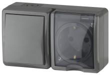 11-7401-03  ЭРА Блок розетка+выключатель IP54, 16A(10AX)-250В, ОУ, Эра Эксперт, серый