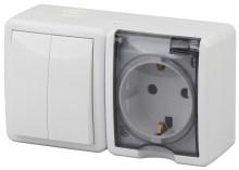 11-7402-01  ЭРА Блок розетка+выключатель двойной IP54, 16A(10AX)-250В, ОУ, Эра Эксперт, белый