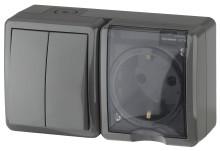 11-7402-03  ЭРА Блок розетка+выключатель двойной IP54, 16A(10AX)-250В, ОУ, Эра Эксперт, серый