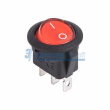 Выключатель клавишный круглый 12V 20А (3с) ON-OFF красный  с подсветкой  REXANT