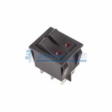 Выключатель клавишный 250V 15А (6с) ON-OFF черный  с подсветкой  ДВОЙНОЙ  REXANT