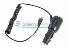 Автозарядка в прикуриватель microUSB (АЗУ) (5V, 1000mA) шнур спираль 1.5М черная REXANT