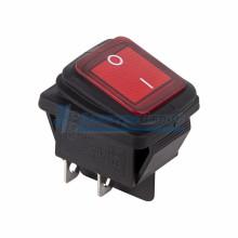 Выключатель клавишный 250V 15А (4с) ON-OFF красный  с подсветкой  ВЛАГОЗАЩИТА  REXANT